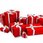 scatole regalo in rosso — Foto Stock