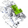 Stock Photo: green apartment mockup on blueprints