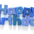 Happy Birthday in blue letters — Stock Photo