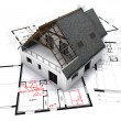 House on blueprints — Stockfoto