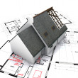 Stock Photo: House on blueprints