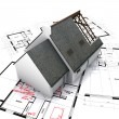 House on blueprints — Stock Photo #2316689