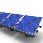 linha de painéis solares — Foto Stock
