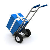 Big blue present delivery — Stock Photo