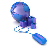Blue world presents online — Stock Photo