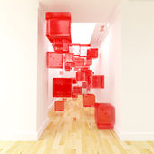 Corridor and red cubes decor — Stock Photo