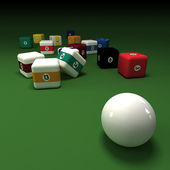 Cubic billiards balls — Stock fotografie