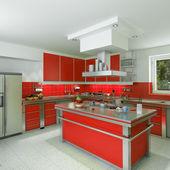Modern red kitchen — Stock Photo