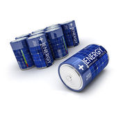 Group of solar charged batteries — Stock Photo