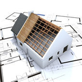 House in construction and blueprints 3 — Stock Photo