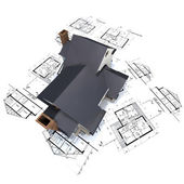 House on top of architect blueprints — Stock Photo