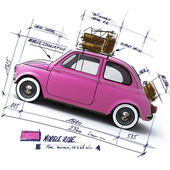 Retro pink car design — Stock Photo