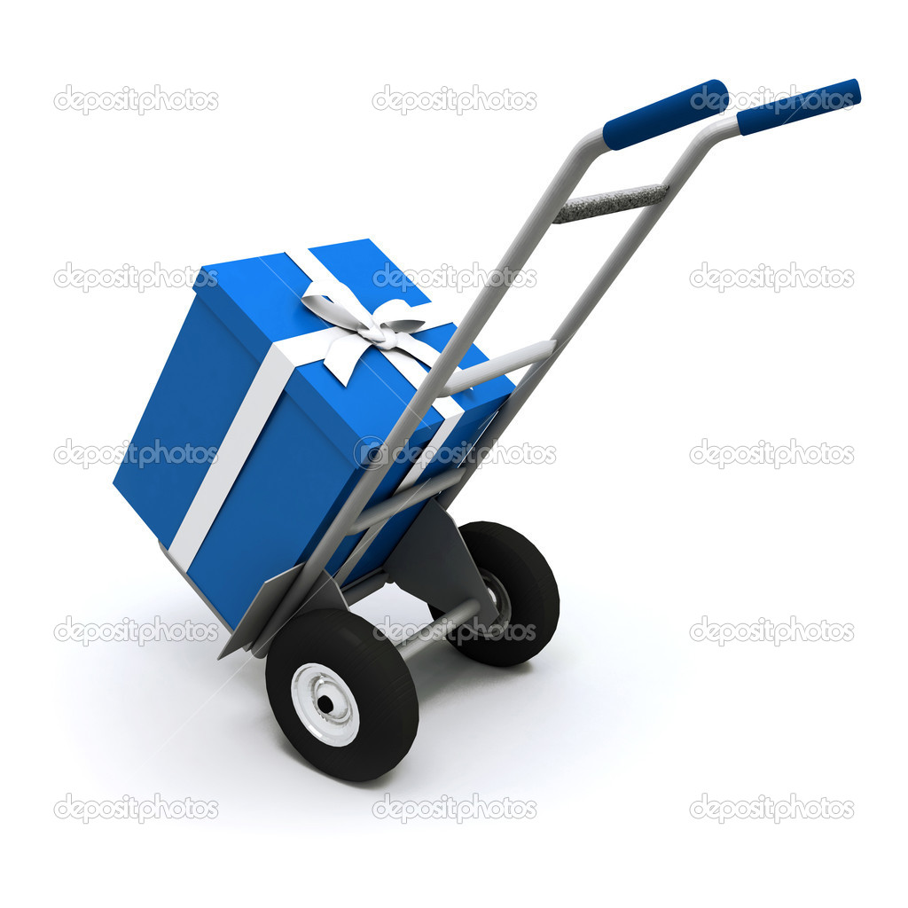 3D rendering of a hand cart carrying a big blue present with a white ribbon — Stockfoto #2314512