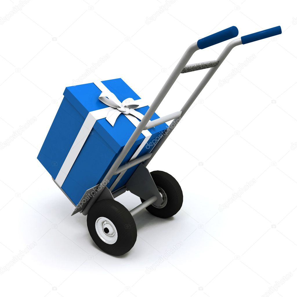 3D rendering of a hand cart carrying a big blue present with a white ribbon — Stok fotoğraf #2314512