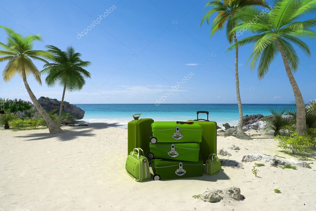 Pile of green luggage on a tropical beach — Stock Photo #2315475