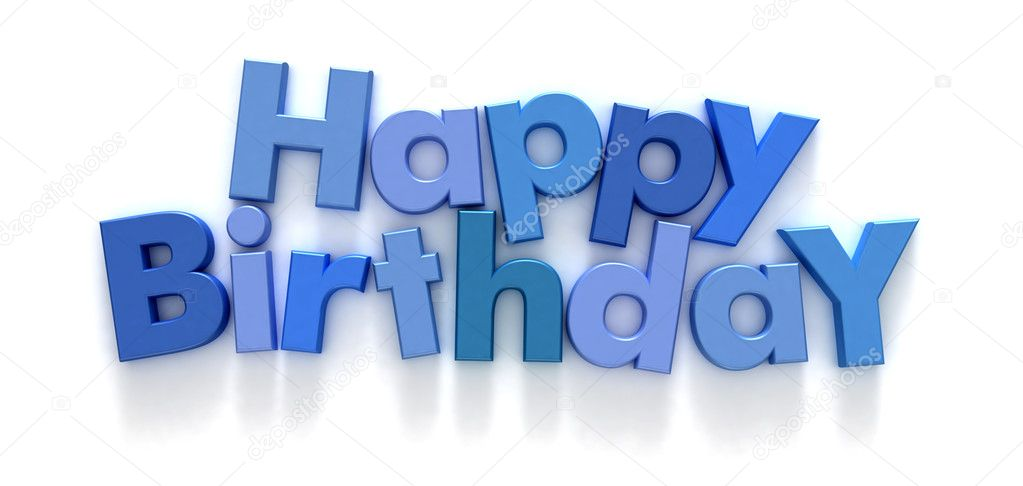 Happy Birthday formed with blue letter magnets on neutral background — Stock Photo #2316396