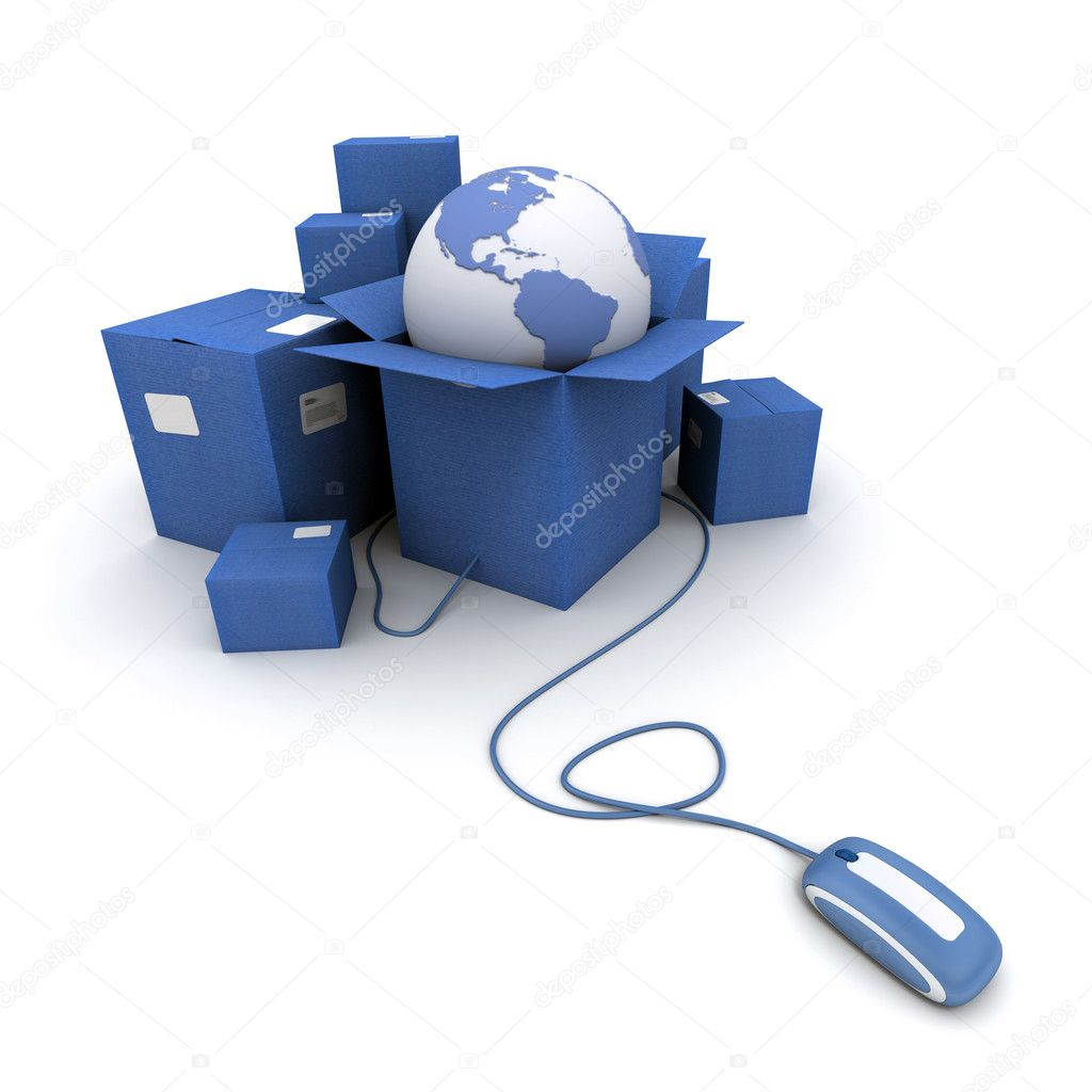 Packages and Earth connected to a mouse  Stock Photo #2316926