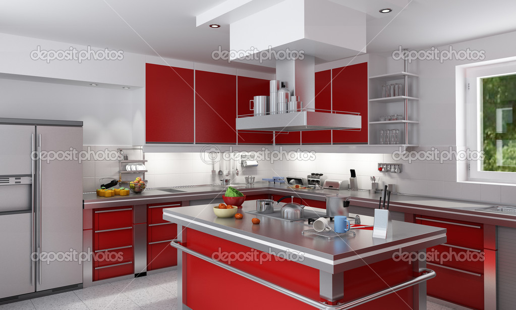 3D rendering of a modern spacious kitchen in red and chrome — Stock Photo #2317310