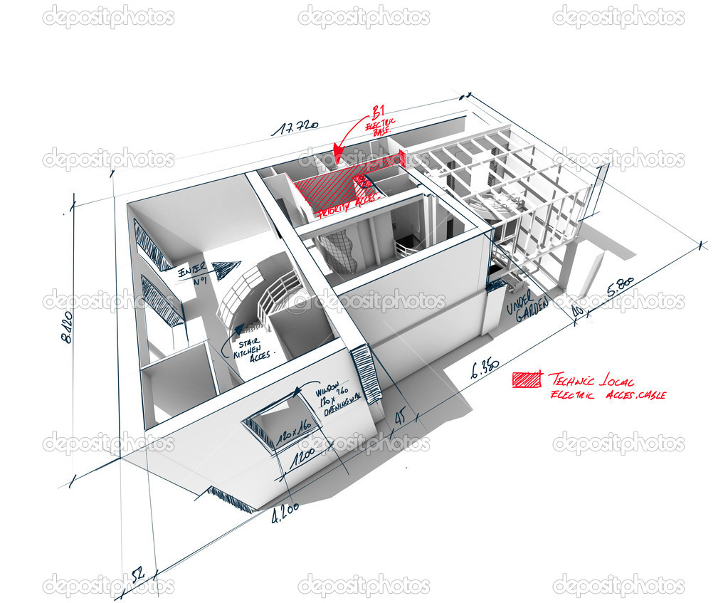 Architecture 3D rendering of a house with scribbled notes and indications — Stock Photo #2317737