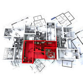 Red apartment mockup on blueprints — Stockfoto