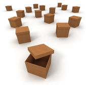 Cardboard boxes and open lid — Foto Stock