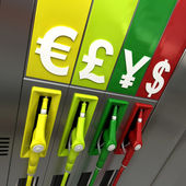 Colorful Gas pumps with currency symbols — Stock Photo
