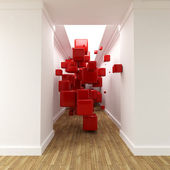 Corridor and red cubes — Stock Photo