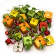 Stock Photo: Fresh cubic fruits