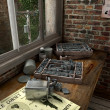 Stock Photo: Old printing corner