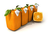Four orange juices and a half — Stock Photo