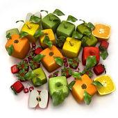 Fresh cubic fruits — Stock Photo