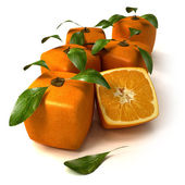 Fresh cubic oranges — Stock Photo