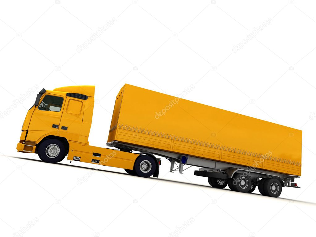 White 18-Wheeler Truck Side View