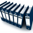 Blue ring binders in a row — Stock Photo