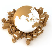 Earth surrounded by packages — Stock Photo