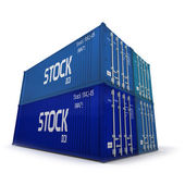 Four blue cargo containers — Stock Photo