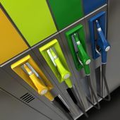 Gas nozzles in bright colors — Stock Photo