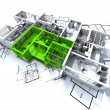 Green apartment mockup on blueprints - Foto Stock