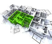 Green apartment mockup on blueprints — Stock Photo