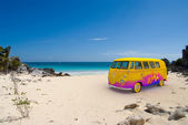 Hippie van on the beach — Stock Photo