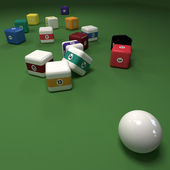 Impossible cubic billiard game — Stock Photo