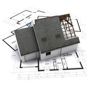 House on architect blueprints — Stock Photo