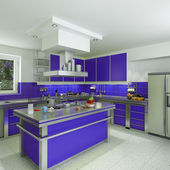 Modern blue kitchen — Stock Photo