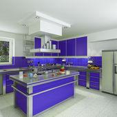 Moderne blaue küche — Stockfoto