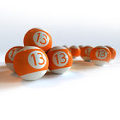 Orange billiard balls with number 13 — Stockfoto