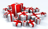 Christmas gifts in red and white — Stock Photo