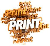 Print in orange — Stock Photo