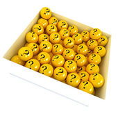 Mysterious yellow balls in a box — Stock Photo