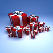 Red and with gifts against blue — Stock Photo