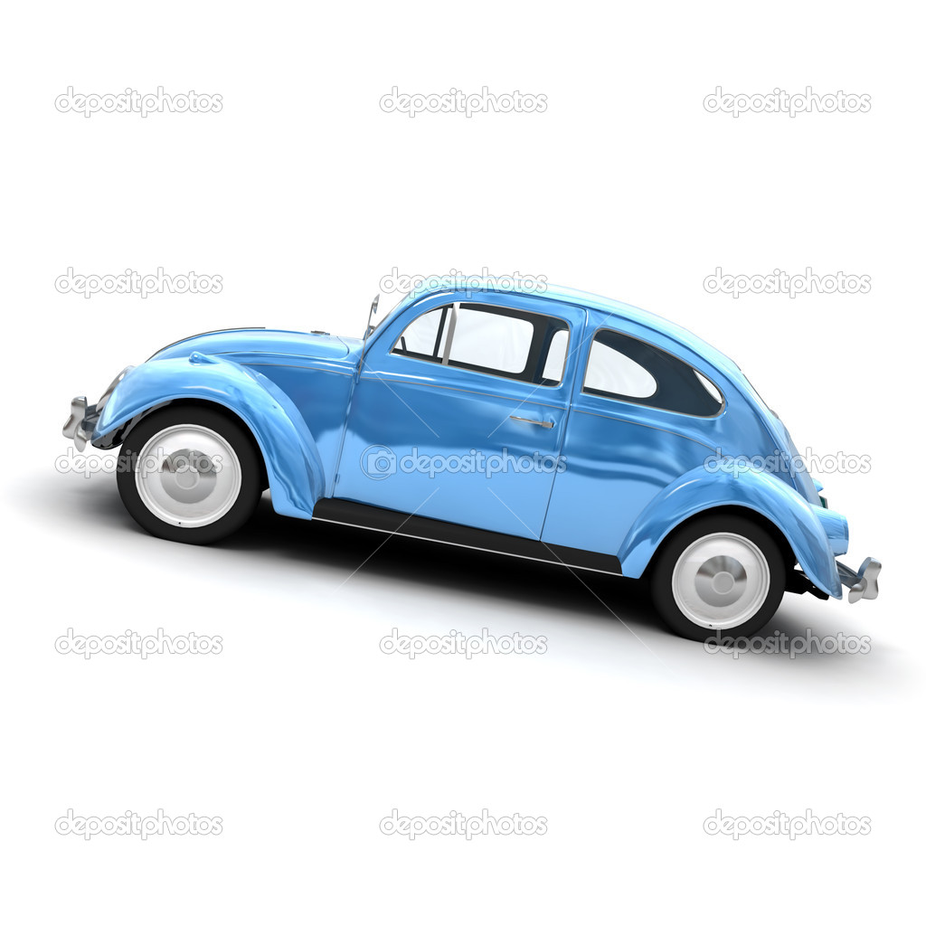vintage car in shinny blue